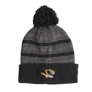 Mizzou Tiger Head Marled Stripe Knit Grey Beanie with Cuff and Pom