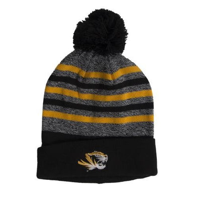 Mizzou Tiger Head Marled Stripe Knit Black and Gold Beanie with Cuff and Pom