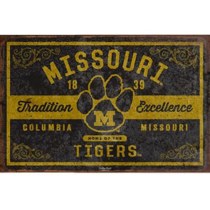 Missouri Tigers Tradition & Excellence Black & Gold Tin Sign