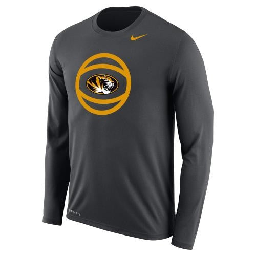 Mizzou Nike® 2017 Oval Tiger Head Grey Basketball Longsleeve T-Shirt