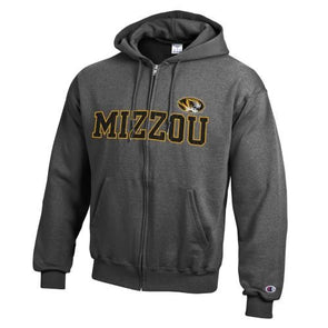 Mizzou Oval Tiger Head Grey Full Zip Sweatshirt