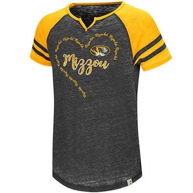Mizzou Youth Girls Heart Mizzou Oval Tiger Head Black/Gold Washed Out T-Shirt