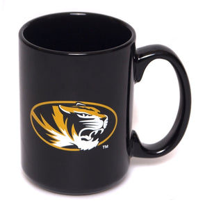 Mizzou Oval Tiger Head Black Ceramic Mug
