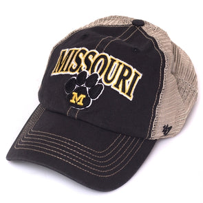 Missouri Paw Print Black Trucker Hat
