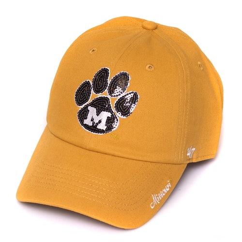 Mizzou Juniors  Sequin Paw Print Yellow Adjustable Hat ... 175565167d0a