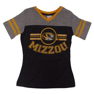 Mizzou Kids' Oval Tiger Head Metallic Ink Black V-Neck T-Shirt