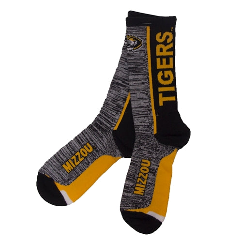 Missouri Oval Tiger Head Grey & Black Calf Length Socks