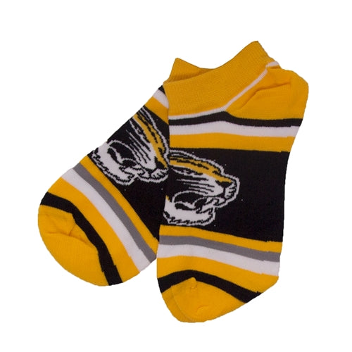 Mizzou Tiger Head Black, Gold & White Striped Ankle Socks