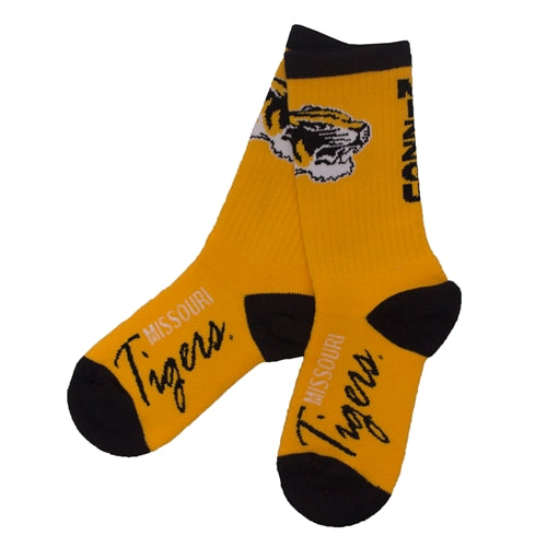 Missouri Tigers Cursive Gold Calf Length Socks