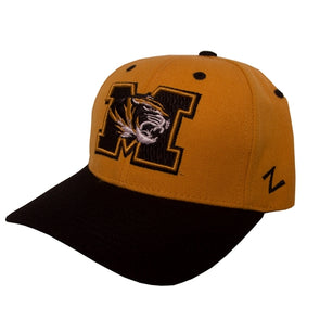 36742b2f4f0 Mizzou Tiger Head Gold Velcro Adjustable Hat