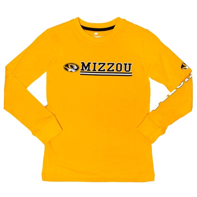 Mizzou Kids' Oval Tiger Head Gold Crew Neck Shirt