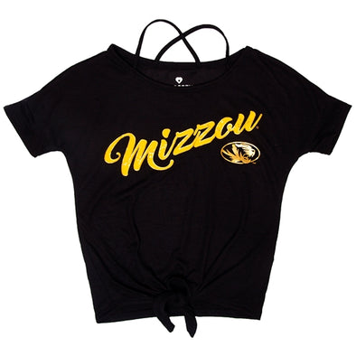 Mizzou Kids' Glitter Oval Tiger Head Black T-Shirt
