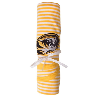 Mizzou Oval Tiger Head Gold & White Striped Baby Blanket