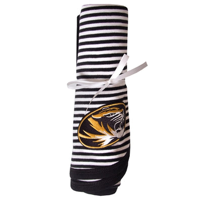 Mizzou Oval Tiger Head Black & White Striped Baby Blanket