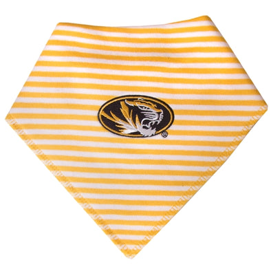 Mizzou Oval Tiger Head Gold & White Striped Bib