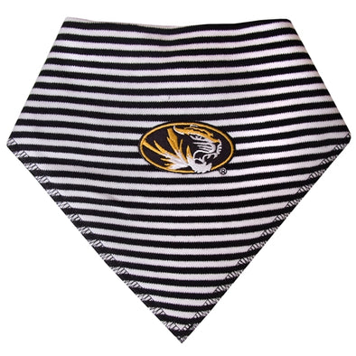 Mizzou Oval Tiger Head Black & White Striped Bib