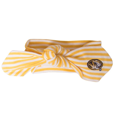 Mizzou Baby Oval Tiger Head Gold & White Striped Hair Knot