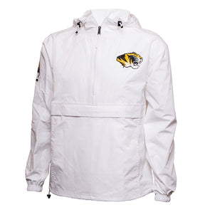 Mizzou White 1/2 Zip Hooded Packable Rainbreaker
