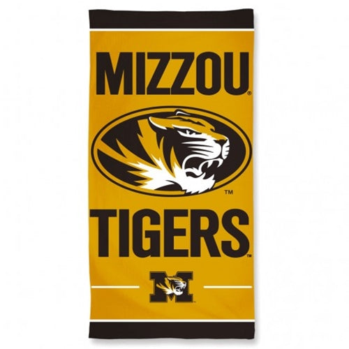 Mizzou Tigers Oval Tiger Head Black and Gold Beach Towel
