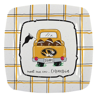 Mizzou Meet Me in Columbia Plaid Black and Gold Platter