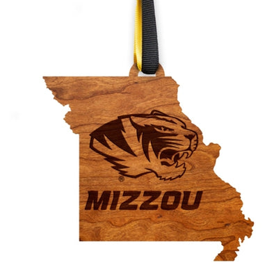 Mizzou Tiger Head Missouri State Wooden Ornament
