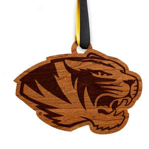 Mizzou Tiger Head Wooden Ornament