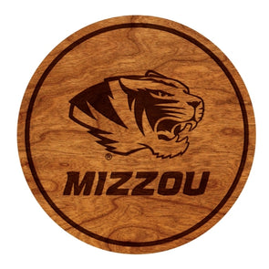 Mizzou Tiger Head Set of Wooden Coasters