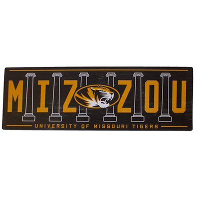 Mizzou Oval Tiger Head Columns University of Missouri Tigers Black and Gold Wall Sign