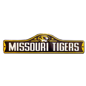 Missouri Tigers Oval Tiger Head Street Black and Gold Metal Wall Sign