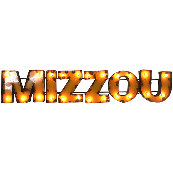 Mizzou Gold Recycled Metal Wall Sign with Lights