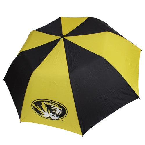 Mizzou Big Storm Oval Tiger Head Black and Gold Umbrella