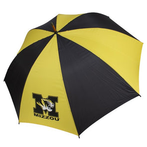 Mizzou Black and Gold Golf M Tiger Head Umbrella