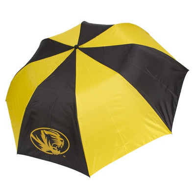 Mizzou Sport Black and Gold Compact Two - Tone Oval Tiger Head Umbrella