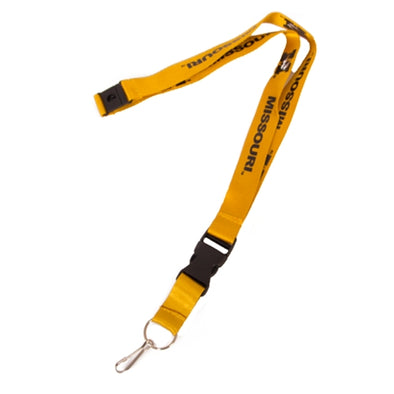 Missouri M Tiger Head Double Sided Gold Lanyard