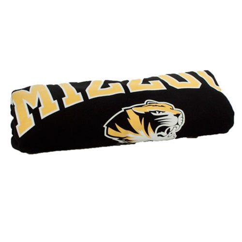 Mizzou Tigers Head Black Rolled Blanket