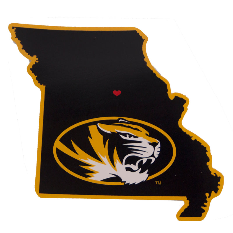 Mizzou Oval Tiger Head State Outline Sticker