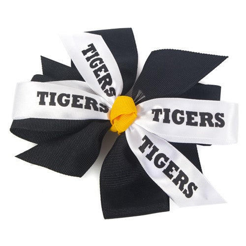 Mizzou Tigers Black, Gold & White Hair Bow