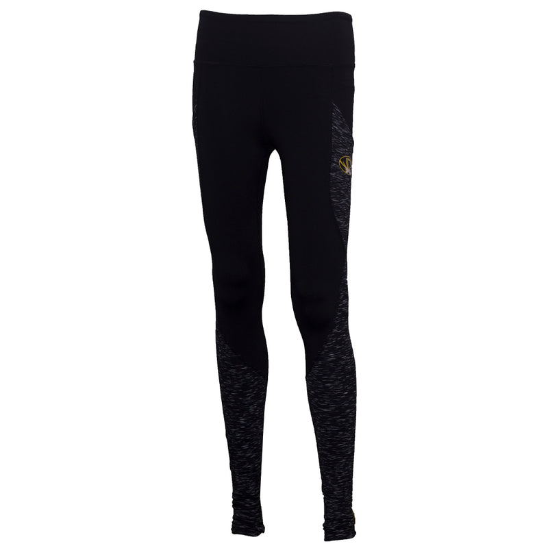 Mizzou Juniors' Oval Tiger Head Black Athletic Leggings
