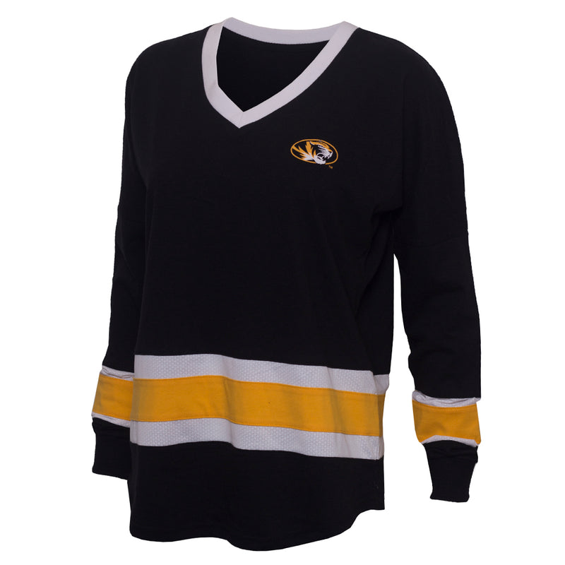 Mizzou Juniors' Oval Tiger Head Black V-Neck Shirt with White & Gold Inserts