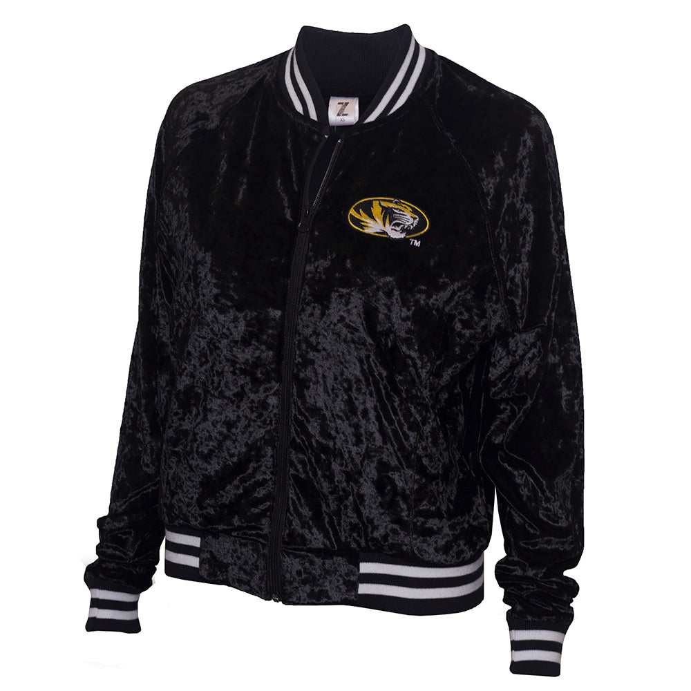 Mizzou Juniors' Oval Tiger Head Black Velvet Bomber Jacket