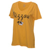 Mizzou Women's Tiger Head Gold V-Neck T-Shirt