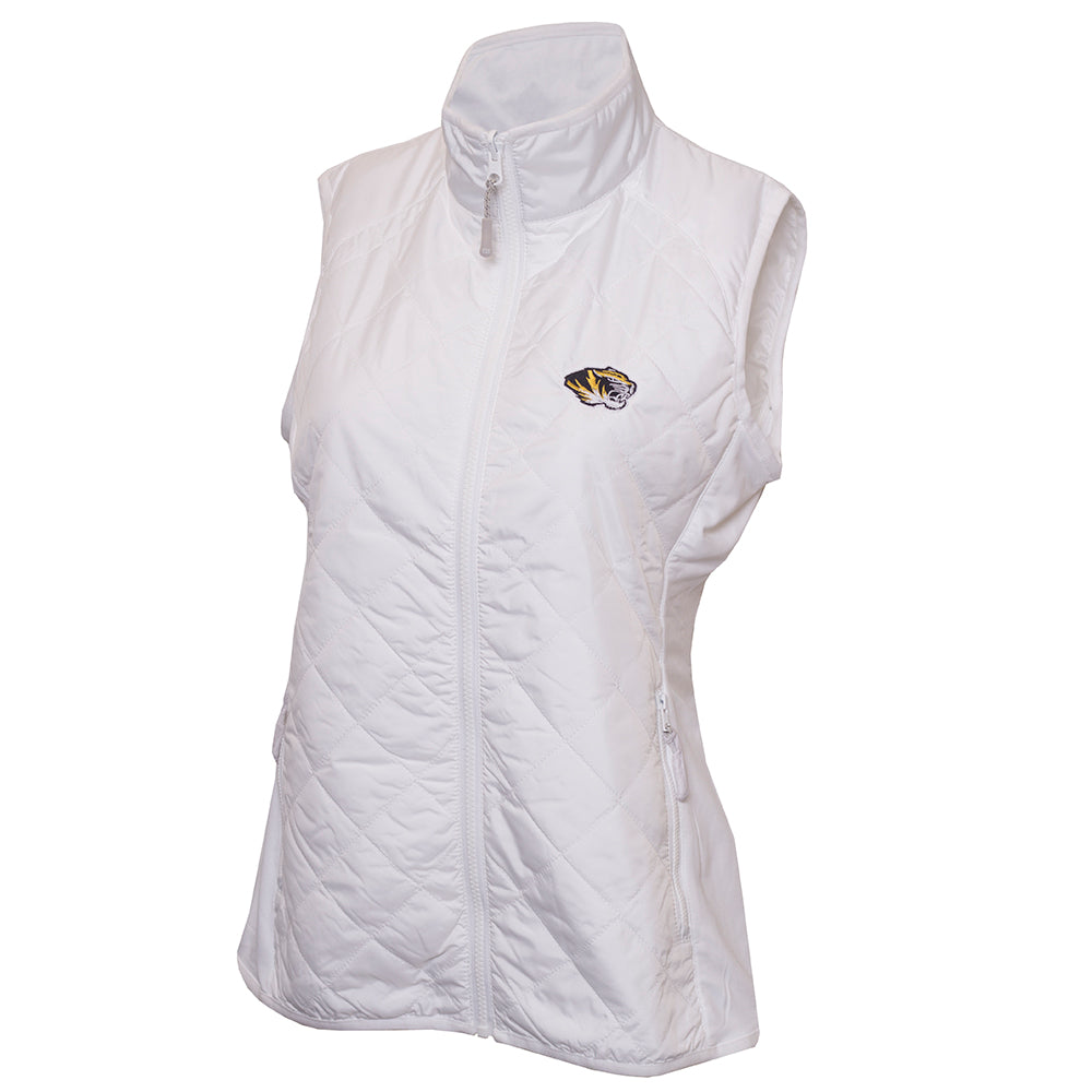Mizzou Cutter & Buck Women's White Full Zip Vest