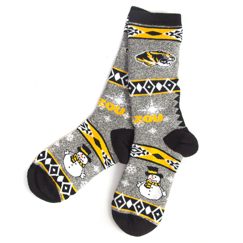 Mizzou Black & Grey Snowman Socks