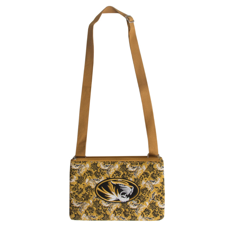 Mizzou Oval Tiger Head Gold Quilted Purse