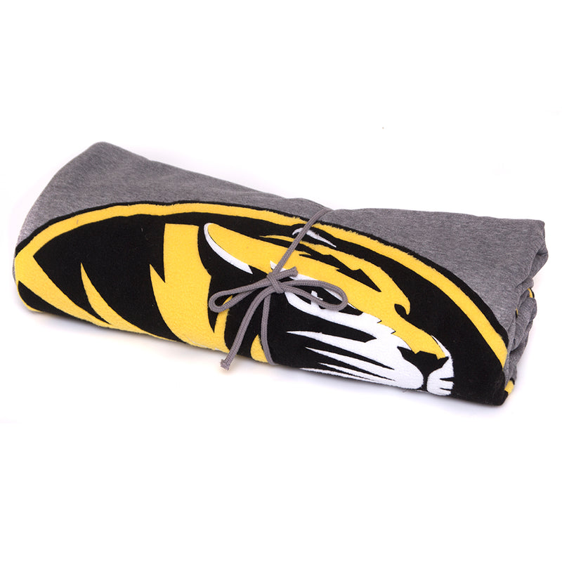 Mizzou Oval Tiger Head Grey Blanket