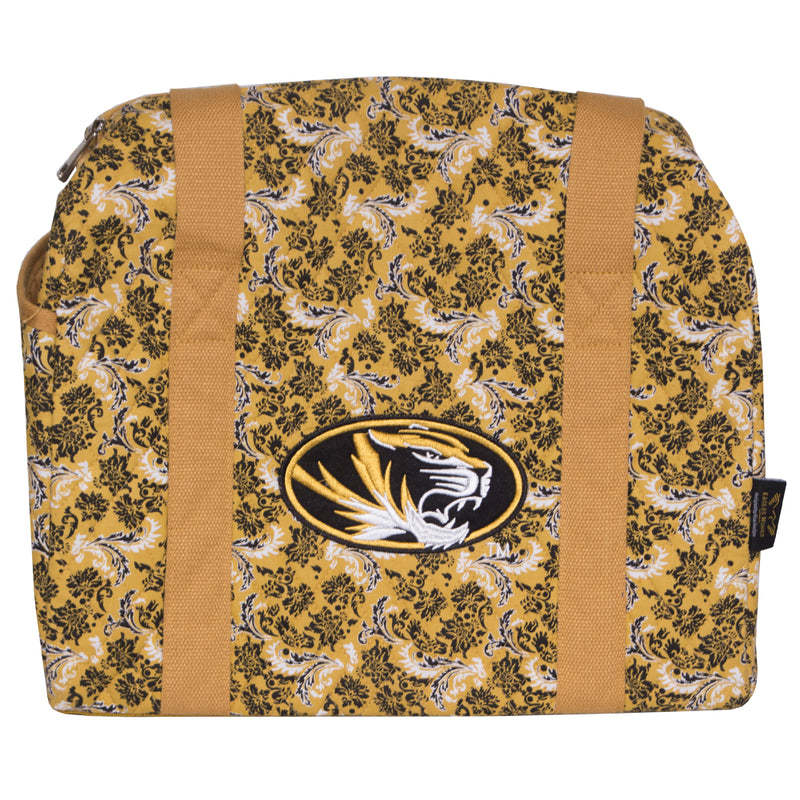 Mizzou Oval Tiger Head Gold Quilted Mini Duffle Bag