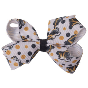 Mizzou Tiger Head Black & Gold Polka Dot Mini Hair Bow