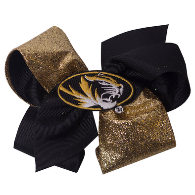 Mizzou Oval Tiger Head Black & Gold Glitter Hair Bow