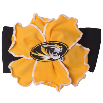 Mizzou Black & Gold Flower Headband