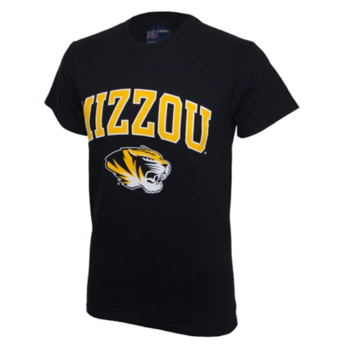 Mizzou Tiger Head Black Short Sleeve Crew Neck T-Shirt